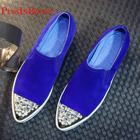 Flat Shoes Woman Genuine Leather Sheepskin Woman Designer Shoes Flats Ladies Slip On Loafers Rhinestones Shoes For Women Loafers