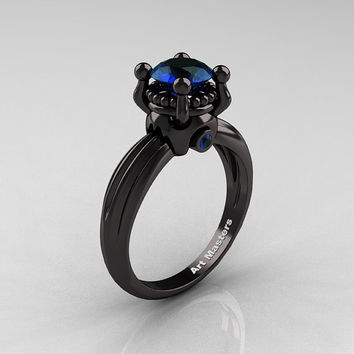 Classic Victorian 14K Black Gold 1.0 Ct London Blue Sapphire Solitaire Engagement Ring R506-14KBGLBS
