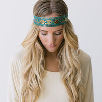 Hippie Ribbon Headband in Deep Turquoise with Gold Stitching Stretchy Bohemian Headband