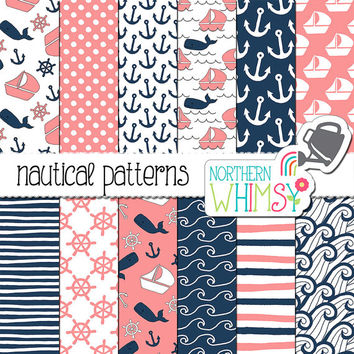 "Pink and Navy Digital Paper ""Nautical Patterns"" - hand drawn boat, whale and anchor seamless patterns - scrapbook paper - commercial use OK"