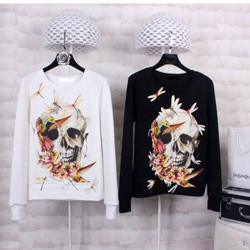 2017 Italy Famous Brand New Style keep warm 3D Pullover Women 3D Print Skull Hoodies Crewneck Tops