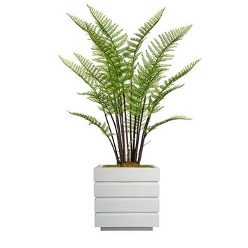 "48"" Artificial Fern Plant Indoor/ Outdoor with Burlap Kit in 14"" White Matte Square Fiberstone Planter"