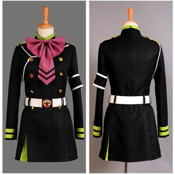 Owari no Serafu Seraph of the End Japanese Anime Uniform Cosplay Shinoa Hiragi Cosplay Costume Outfit Dress Uniform