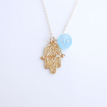 Hamsa Hand Necklace with Blue Chalcedony