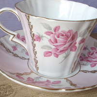 Antique tea cup and saucer set, vintage Royal Standard English tea set, pastel pink rose and white bone china tea cup