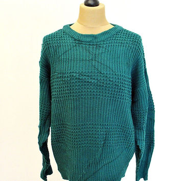 Vintage 90s Green High Sierra Grunge Shaker Knit Jumper Sweater  Large
