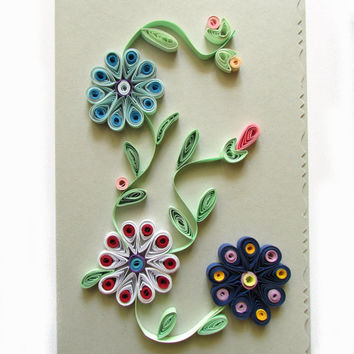 Pastel Grey Quilling Card with Quilled Flowers