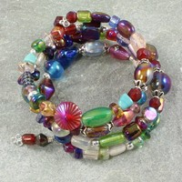 Multicolor Handmade Bracelet Memory Wire Bead India Wrap Silver Dangle