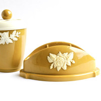 Vintage Toothbrush Holder & Soup Dish - Retro 1960s Golden Mustard Yellow Bathroom Canisters / Rustic Roses
