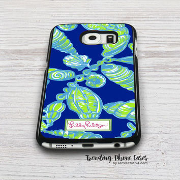 Aqua Green Shells-Lilly Pulitzer Samsung Galaxy S6 Case Cover for S6 Edge S5 S4 Case
