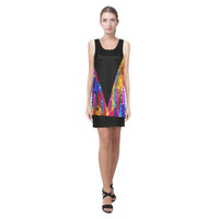 Black with Rainbow Faux Sequins Frill Helen Sleeveless Dress (Model D10) | ID: D1187279
