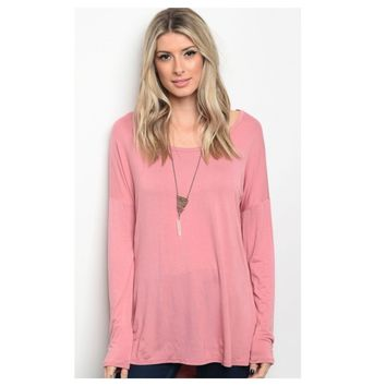 Always Adorable, Long Sleeve Dusty Mauve Tunic Top