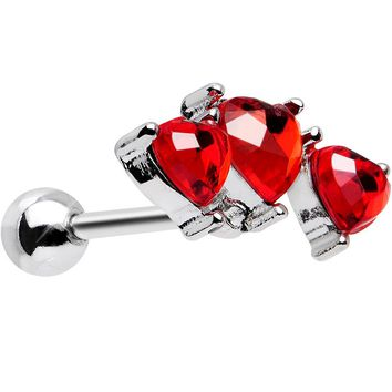 Red Trio of Love Heart Tragus Cartilage Earring