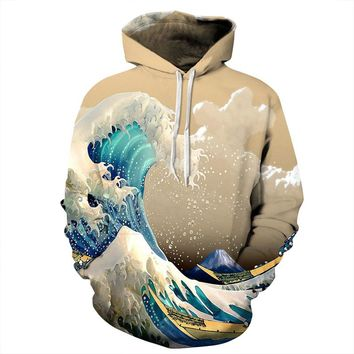 The Great Wave off Kanagawa All Over Print Hoodie Sweatshirt Sweater