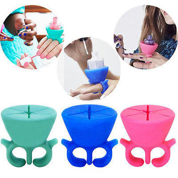 Finger Wearable Nail Polish Holder Display Silicone Stand Useful Holder HUCA
