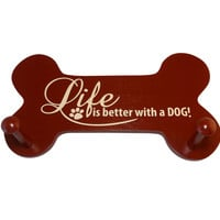 Wooden Leash Hanger - Life is Better With a Dog