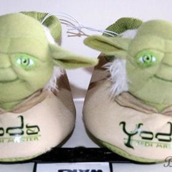 Licensed cool STAR WARS JEDI MASTER YODA Plush Toddler SLIPPERS HOUSE Shoes S-XL  STARWARS NWT