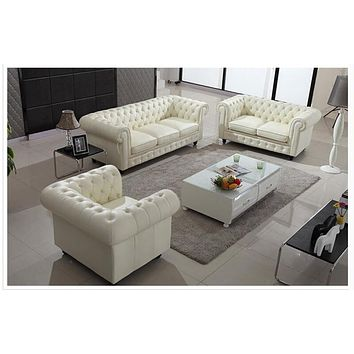 Luxury Genuine  Leather U-BEST White Modular Sectional Sofa Set