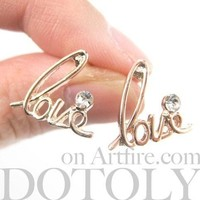 Love Cursive Stud Earrings in Rose Gold with Rhinestones | DOTOLY