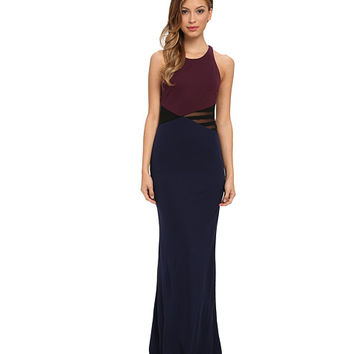 ABS Allen Schwartz Color Block Gown with Cross Back Detail