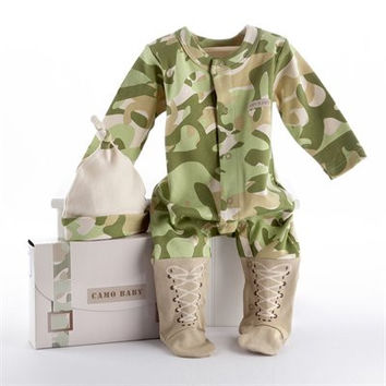 Camo Baby Camouflage Bodysuit with Cap
