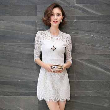 High Quality 2016 New Year New Sexy Lace Dress Photos Vestidos Vetement Femme Ropa Mujer Vetement Femme  Free Shipping