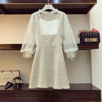 Fashion Lantern Sleeve Lace Shirt + Vest Liner + Tweed Strap Skirt Two Piece Set