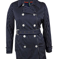 Lauren Ralph Lauren Women's Striped Belted Trench Coat