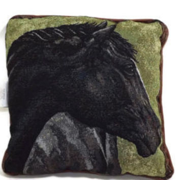 "new BLACK BEAUTY Horse Head Throw Pillow w/ Tan Faux Leather trim Size 18"" X 18"""