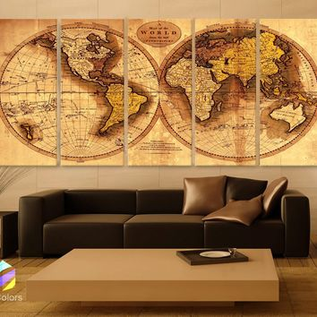 "XLARGE 30""x 70"" 5 Panels 30""x14"" Ea  Art Canvas Print Original world Map Old Vintage Rustic Wall decor Home"