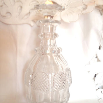 Vintage Crystal Decanter or Carafe , Glass Decanter for Bar , Mid Century Barware