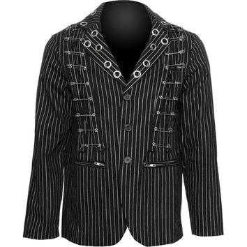 Goth shop: Raven SDL pinstripe men's jacket, safety pins
