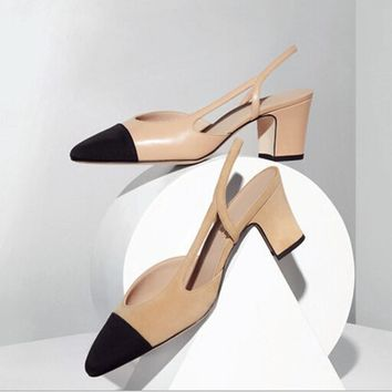 2017 New Spring Thick With Heel Women Sandals Shoes Mixed Colors Leather Flock Round Toe Square Strap Heel Women Single Pumps30