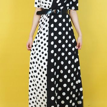 Polka Dot No Button Maxi Cardigan Dress