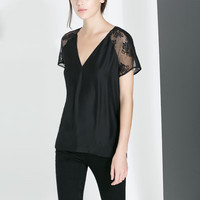 BLOUSE WITH LACE TRIMMING - Shirts - WOMAN | ZARA United States