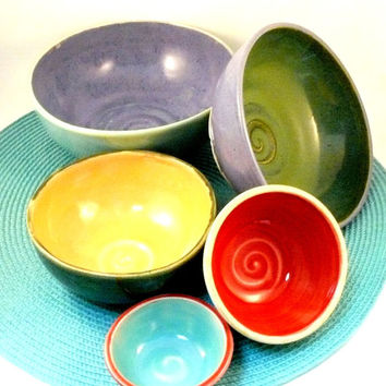 Nesting Bowls  - Set of five serving bowls in blue, green, red, purple and yellow - decorative art home decor SHIPS TODAY