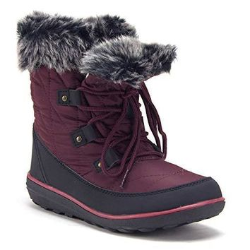 Women's Outdoor Fur Cuff Lace-Up Quilted Winter Snow Boots