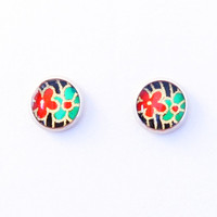 Japanese paper earrings, studs, surgical steel stud earrings, Chiyogami washi jewelry, flower, blossom, black, red, green, gold