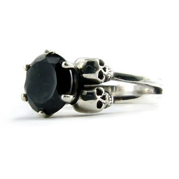 Skull Jewel Ring Silver Black Stone Skull Ring Goth Engagement Ring Black Spinel Gemstone Womens Ring Spinel Size 7