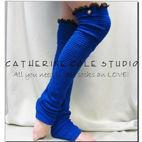 New Dancer ballerina yoga EXTRA LONG  leg warmers womens -ROYAL Blue  popcorn texture, lace buttons by Catherine Cole Studio legwarmers