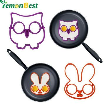 DCCKU7Q 2Pcs/Set Owl Rabbit  Shapes Non-stick Silicone Fried Egg Mold Pancake Rings Cooking Tools Egg Omelette Mould