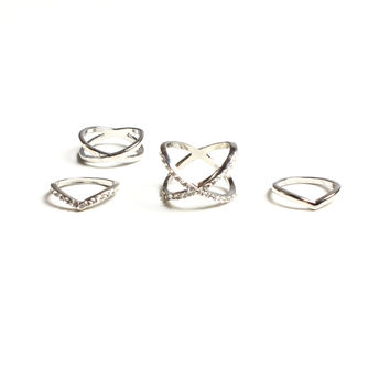 Crossed Out Ring Set - Silver