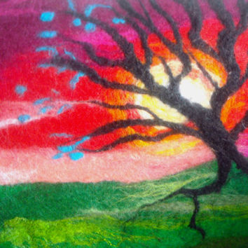 abstract tree picture, wall art, sunset picture, art on canvas, fibre art, felt