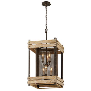 Troy F4066 Merchant Street Rusty Iron and Salvaged Wood Slats Six Light Pendant