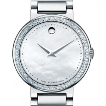 Movado Concerto Ladies Mother Of Pearl Museum Dial 30mm Stainless Steel Diamond Bezel Watch 0606421