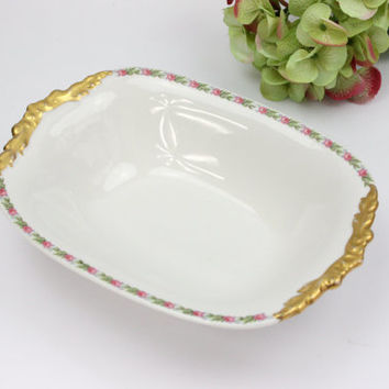 J. Pouyat Limoges Vegetable Dish / Pink Roses With Gold