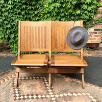 Vintage Wood Theatre Seats, Set Of Two Folding Wood Stadium Seats, 1920s Folding Wood Church Bench Seats, Wood Church Pew
