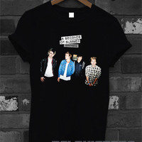 5sos shirt 5 second of summer amnesia logo shirt 5 sos t-shirt printed black unisex size (DL-35)