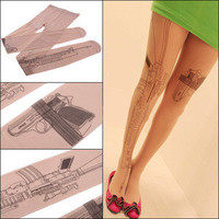 korean design Transparent Pantyhose Gun Tattoo Socks Stockings Tights Leggings