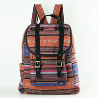 Woven Backpack Ethnic Tribes Rustic Folk Traditional Bag, Organic Cotton Textile, Book bag